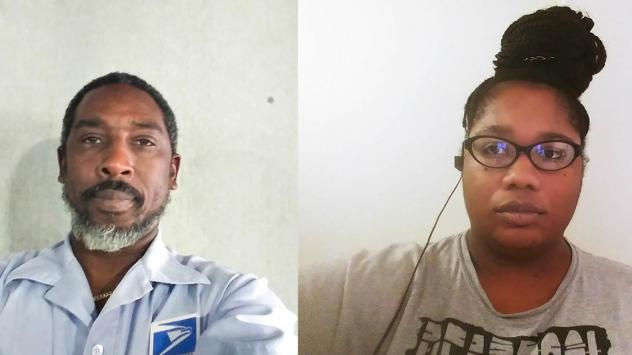 Craig Boddie (left) and Evette Jourdain, both mail carriers in Palm Beach, Fla., spoke for a remote StoryCorps conversation last month about the job risks created by the coronavirus outbreak.
