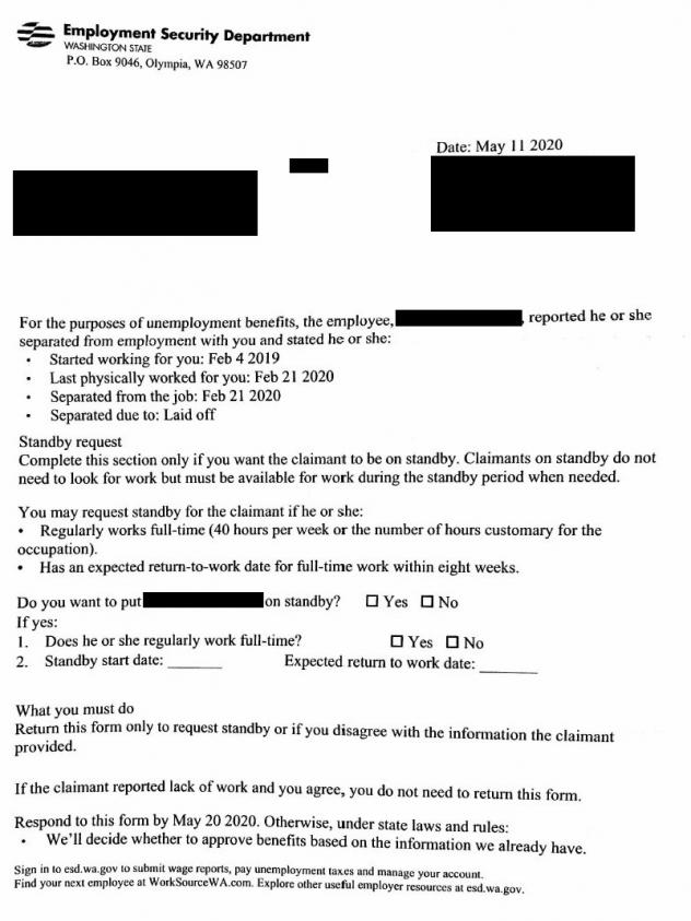 """One of the many unemployment claim notification letters sent to employers in Washington state, often delivered to offices that had been closed because of the pandemic. This is one of the """"tens of thousands"""" of claims believed to be fraudulent."""
