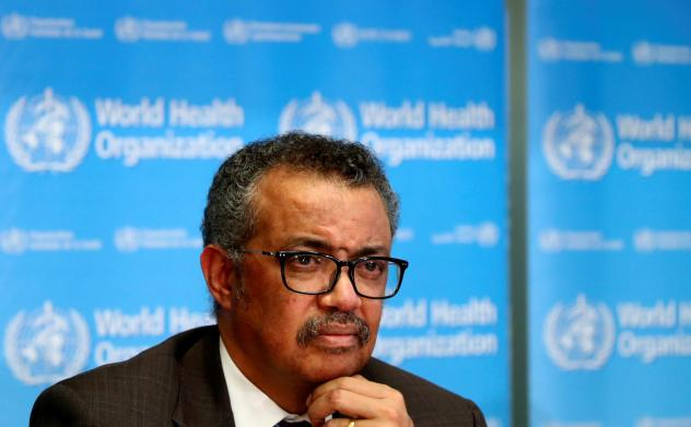 The World Health Organization's Tedros Adhanom Ghebreyesus, here at a press conference earlier this year, gave his reaction Monday to President Trump's declaration about funding the agency. Tedros said he learned of Trump's decision from the president's