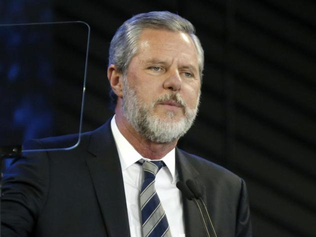 Jerry Falwell Jr., shown here in 2018, has apologized for tweeting a racist image.