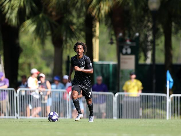 Sporting Kansas City midfielder Gianluca Busio at the 2019 MLS Homegrown Game at ESPN Wide World of Sports Complex near Orlando, Fla. The MLS will restart its 2020 season with a monthlong tournament at the complex.