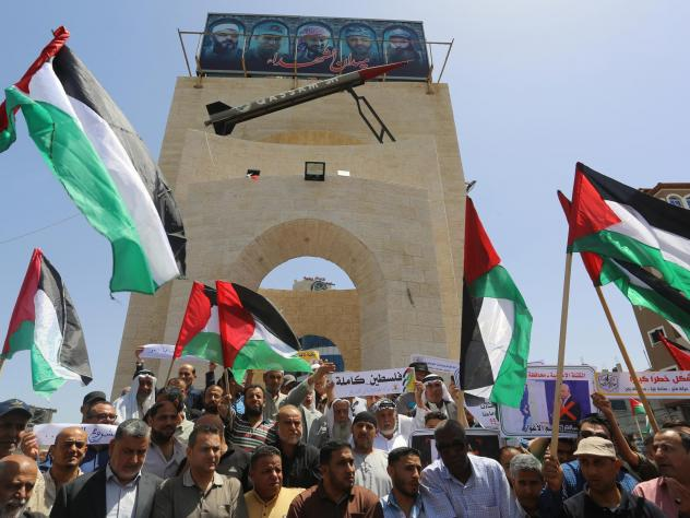 Palestinians demonstrate against Israel's annexation plans in Rafah, Gaza, on June 11. Palestinian leaders have begun refusing to coordinate with Israel on matters of daily Palestinian life, from tax collection to policing to medical treatments — a mov