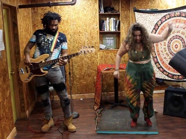 Michela Marino Lerman and Russell Hall perform at home.