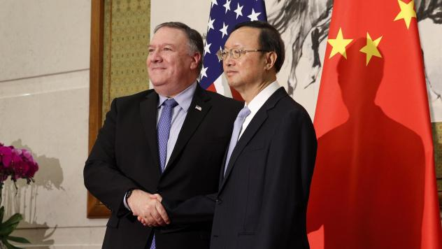 In this October 2018 photo U.S. Secretary of State Mike Pompeo, left, shakes hands with State Councilor Yang Jiechi, China's top diplomat, in Beijing. The two met Wednesday in Hawaii as relations between the U.S. and China continue to deteriorate.
