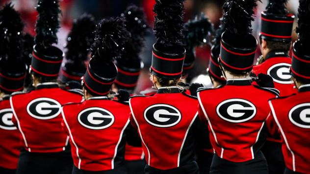 """The University of Georgia's marching band, seen during a football game last November in Athens. The band's acting director, Brett Bawcum, announced that it would no longer play <em></em>""""Tara's Theme"""" from <em>Gone with the Wind.</em> The film has attrac"""