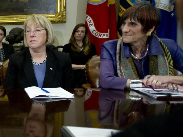 Sen. Patty Murray, D-Wash, and Rep. Rosa DeLauro, D-Conn., seen in 2014, asked the Department of Health and Human Services on Thursday why more coronavirus funds were not being spent on nursing homes.