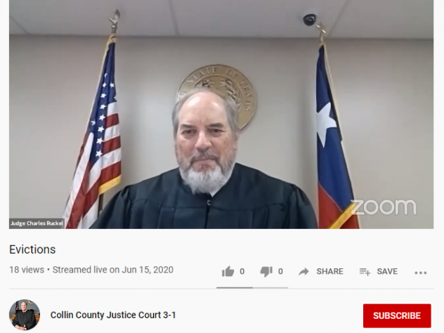 At a remote eviction hearing this week in Collin County, Texas, the court granted landlords the right to evict five people who didn't or couldn't dial into the hearing. Judge Charles Ruckel also postponed several cases to next week because an eviction mo