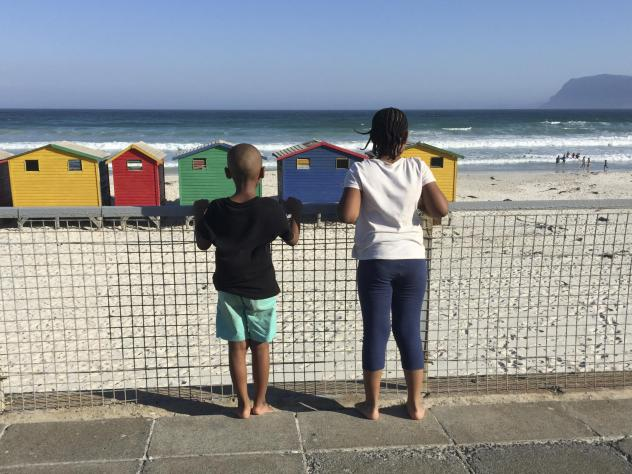 The author's two children at a South African beach.