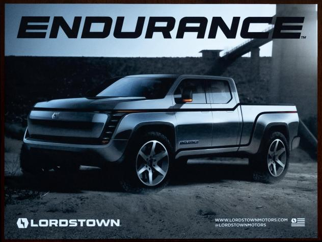 A poster for Endurance is seen in the office of Lordstown Motors CEO Steve Burns.