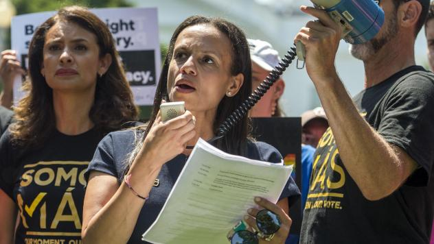 Alexis McGill Johnson becomes the permanent president and CEO of Planned Parenthood after serving in the role on an interim basis. Here, she addresses a rally against white supremacy last year in Lafayette Square in Washington, D.C.