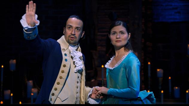 Lin-Manuel Miranda and Phillipa Soo played Alexander and Eliza Hamilton in the original Broadway production of <em>Hamilton</em>. A film production of the show, taped in 2016, debuts on Disney+ July 3.