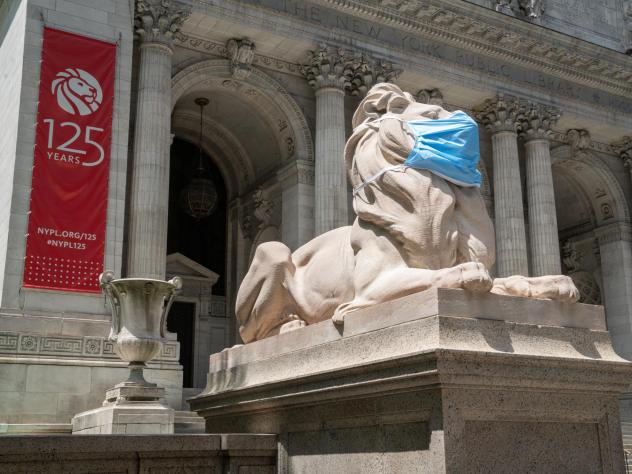 The marble lions outside the New York Public Library in midtown Manhattan are wearing face masks to remind New Yorkers to follow COVID-19 safety guidelines. Throughout their 109-year history the sculptures have worn baseball caps, top hats and wreaths.