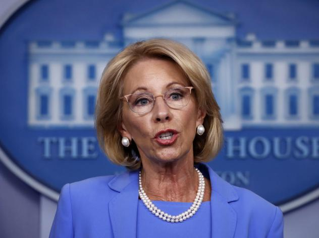 Education Secretary Betsy DeVos speaks to reporters about the coronavirus at the White House in March.