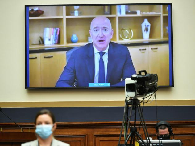 Amazon CEO Jeff Bezos testifies via video before the House Judiciary antitrust subcommittee. The hearing also featured the heads of Apple, Facebook and Google.