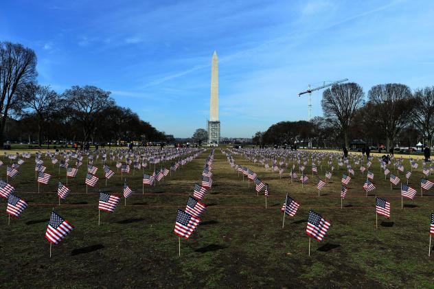 "Some 1,892 American flags are installed on the National Mall in Washington, DC in 2014. The Iraq and Afghanistan veterans installed the flags to represent the 1,892 veterans and service members who committed suicide this year as part of the ""We've Got Yo"
