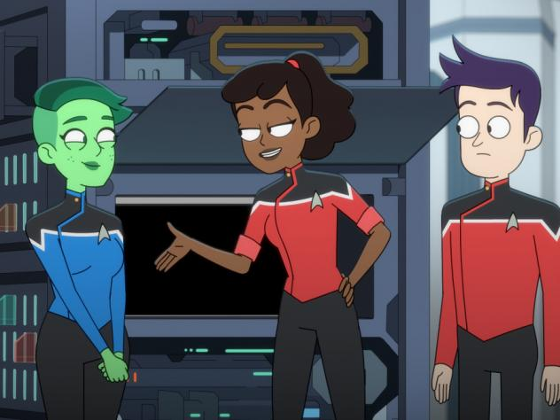 L to R: Ensigns Tendi (voiced by Noel Wells), Mariner (voiced by Tawny Newsome) and Boimler (voiced by Jack Quaid) do the grunt work on <em>Star Trek: Lower Decks</em>.
