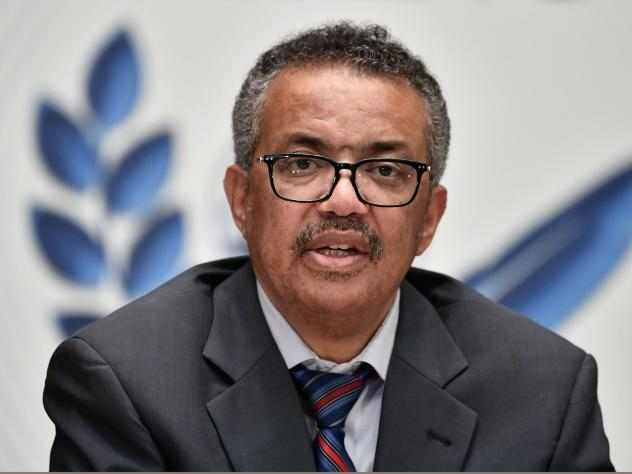 "World Health Organization Director-General Tedros Adhanom Ghebreyesus says that while some COVID-19 vaccine candidates have progressed to phase three testing, the world must remain reliant on ""the basics"" of disease control. Tedros is seen here last mont"