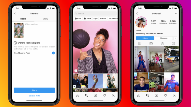 Facebook's new Reels feature on Instagram allows users to create and share short videos, similar to TikTok.