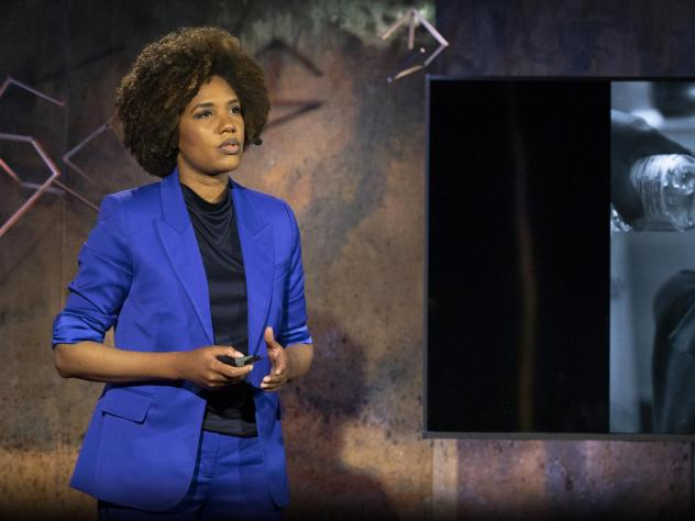 LaToya Ruby Frazier speaks from the TED stage.