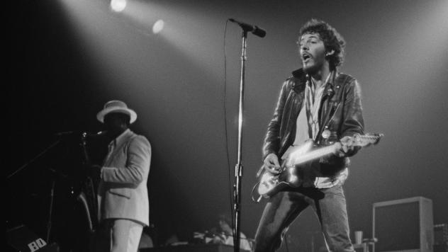 Bruce Springsteen performs live on stage at the Carlton Theatre in Red Bank, N.J., during the Born To Run tour in October 1975.