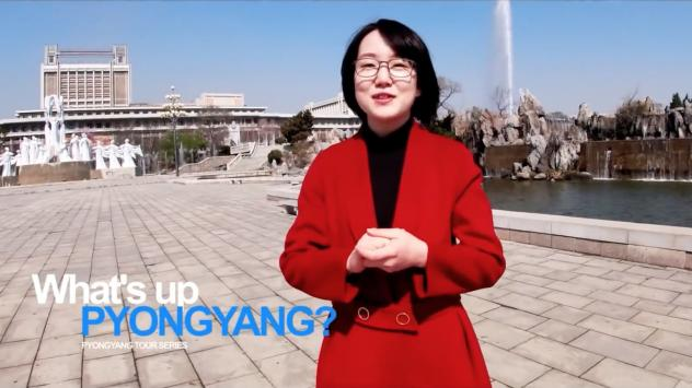 """A woman named Un A leads viewers on a tour of the North Korean capital, Pyongyang, in a recent YouTube video. """"Every building in Pyongyang is going through general cleaning to shake off winter dust,"""" she says in English."""