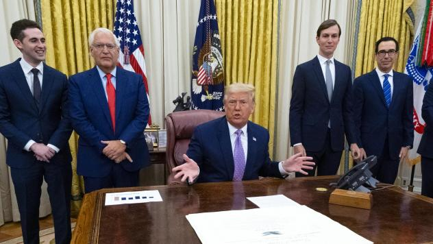 President Trump speaks during a Oval Office meeting Thursday with representatives of Israel and the United Arab Emirates, announcing an agreement to establish diplomatic ties between the two countries.