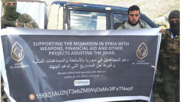 A group solicits funds for weapons by asking for bitcoin, according to the Department of Justice. The Trump administration says al-Qaida and affiliated groups have used such donations to fund terrorism.