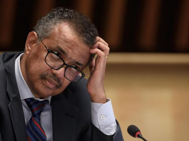World Health Organization Director-General Tedros Adhanom Ghebreyesus at a news conference last month in Geneva. He is urging countries to join a pact aimed at ensuring access to drugs to prevent COVID-19.