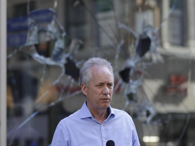 Louisville Mayor Greg Fischer speaks during a news conference, Saturday, May 30, 2020, in Louisville, Ky.