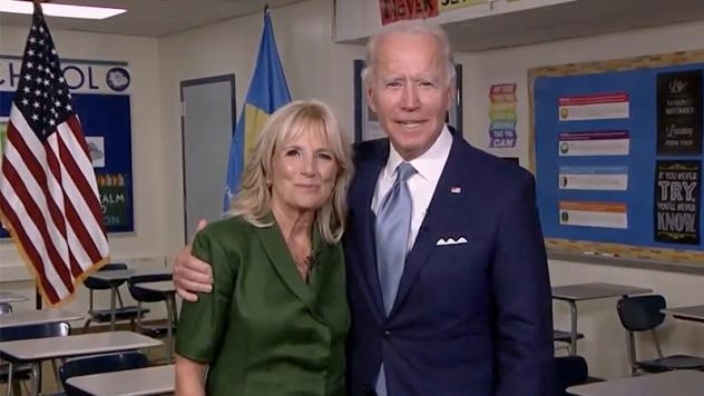Democratic presidential nominee Joe Biden joins his wife Jill Biden in a classroom after her address to the virtual Democratic National Convention on Tuesday.