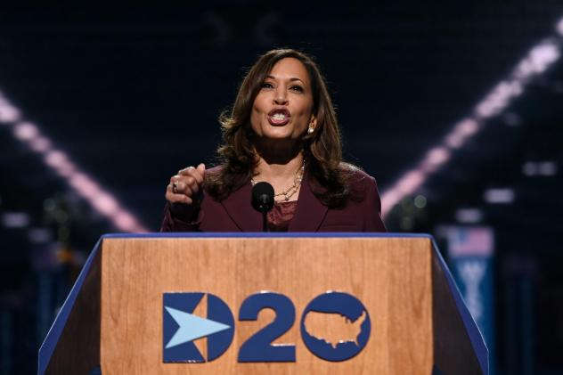 Democratic vice presidential nominee Kamala Harris speaks during the third day of the Democratic National Convention.