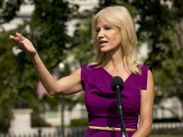 Counselor to the president Kellyanne Conway speaks to reporters outside the West Wing of the White House in Washington, D.C., earlier this month.
