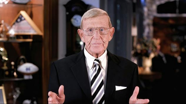Former Notre Dame football coach Lou Holtz speaks from Orlando, Fla., during the third night of the Republican National Convention on Wednesday. Holtz questioned Democratic candidate Joe Biden's Catholic faith.