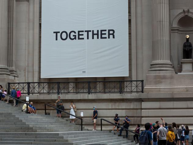 Visitors line up as the Metropolitan Museum of Art in New York reopens to the public on Aug. 29, 2020. The museum closed in March because of the coronavirus pandemic.