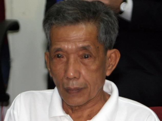 Former Khmer Rouge prison chief Kaing Guek Eav appears in a courtroom of the Extraordinary Chambers in the Courts of Cambodia in 2007.