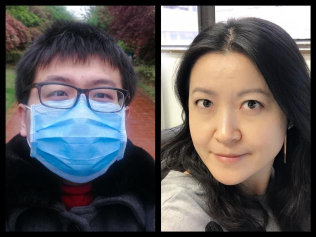 Left: Xi Lu had traveled to Wuhan in January to spend the Lunar New Year with his parents, having not been with his them for the holiday in over seven years. Lin Yang, an epidemiologist at Hong Kong Polytechnic University also traveled to Wuhan to visit