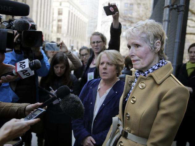 """On Twitter, E. Jean Carroll (right) slammed the Department of Justice's attempt to take over her defamation suit against President Trump, telling him to """"bring it."""""""