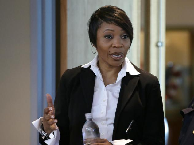 Dallas Police Chief U. Reneé Hall talks signed Tuesday after criticism of her department's handling of recent protests in the city. Hall is seen here at police headquarters in Dallas in 2017.