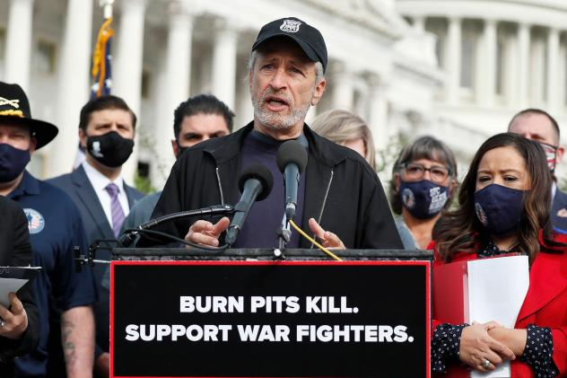 """Comedian, writer and veterans advocate Jon Stewart speaks at a press conference on """"The Presumptive Benefits for War Fighters Exposed to Burn Pits and Other Toxins Act of 2020"""" at the House Triangle in Washington, D.C., on Tuesday."""