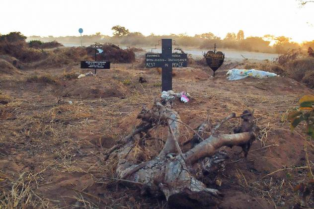 An illegal roadside graveyard in northeastern Namibia. People in the townships surrounding Rundu, a town on the border to Angola, are too poor to afford a funeral plot at the municipal graveyard — and resorted to burying their dead next to a dusty grav