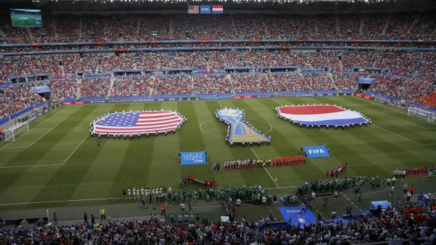 Events preceding the Women's World Cup final soccer match between the United States and the Netherlands in Decines, France, in 2019. FIFA President Gianni Infantino has suggested that the FIFA Women's World Cup could be held every two years instead of ev