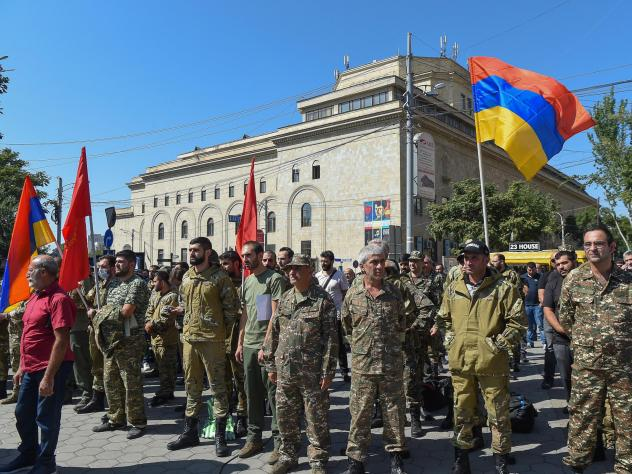 Servicemen and members of the Armenian Revolutionary Federation gather after the Armenian government declared martial law and military mobilization amidst growing conflict with Azerbaijan.