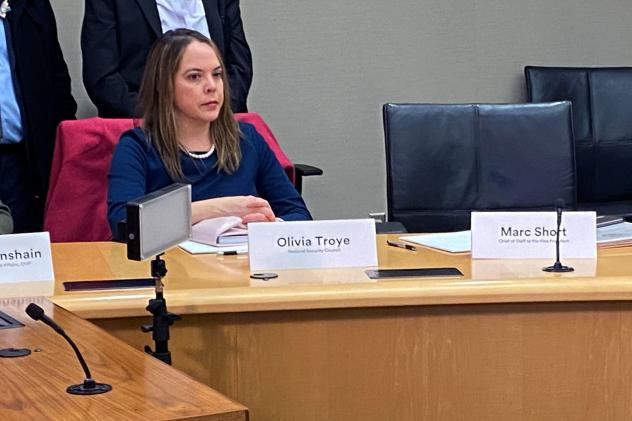 Olivia Troye, U.S. Vice President Mike Pence's top coronavirus advisor at the time, participates in a coronavirus disease briefing event with the Vice President at 3M's company headquarters in Maplewood, Minn. in March.