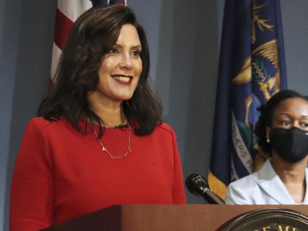 Michigan's Supreme Court ruled Friday that Democratic Gov. Gretchen Whitmer (pictured here on Sept. 16) does not have the authority to extend a state of emergency past April 30. Whitmer had cited two state laws that allowed her to maintain the state's co