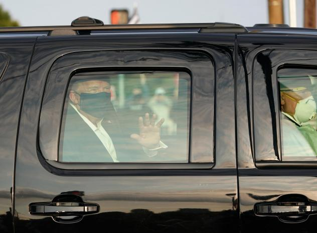 Despite public health recommendations that people infected with the coronavirus isolate themselves to prevent further transmission, President Trump rode with Secret Service agents past his supporters outside Walter Reed National Military Medical Center o