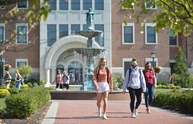 Students at Benedictine College in Atchison, Kan. The pandemic is straining many small American colleges, but some enjoy distinct advantages over their bigger rivals in fighting the spread of the coronavirus on campus.