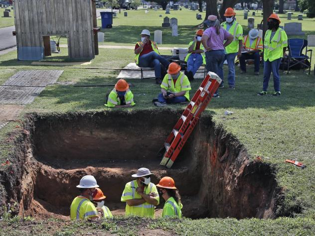 A second excavation is planned in Tulsa, Okla., this week to unearth potential unmarked mass graves from a race massacre in 1921. In July,  researchers began excavation at Oaklawn Cemetery, shown here. They found no evidence of human remains at that part