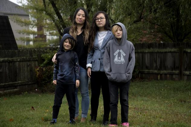 Joyce Chen and her children, Campbell, 7, Bryn, 12, and Emerson, 10.