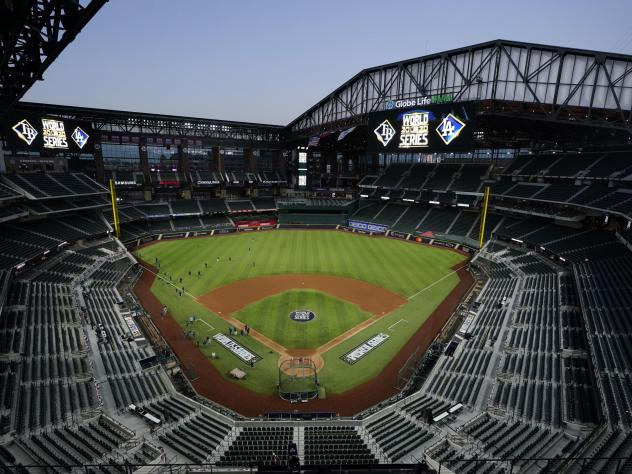 The Tampa Bay Rays practice at Globe Life Field with the roof open as the team prepares for Tuesday's World Series opener against the Los Angeles Dodgers, in Arlington, Texas. First pitch for Game 1 is at 8:09 p.m. ET.