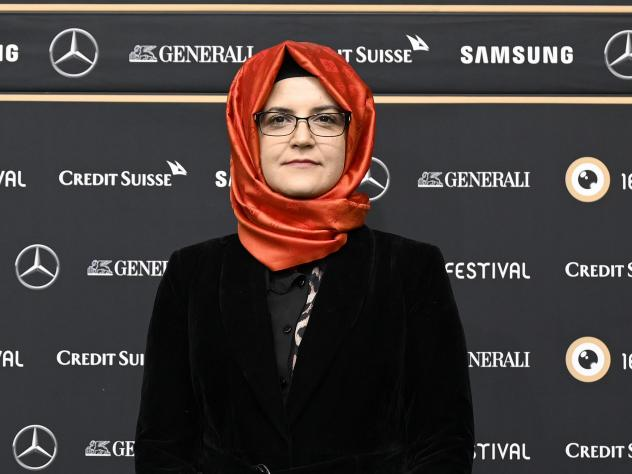 Hatice Cengiz says her accusations against Saudi Crown Prince Mohammed bin Salman over the murder of Jamal Khashoggi would not receive a fair trial in Saudi Arabia. She is seen here earlier this month at the 16th Zurich Film Festival in Switzerland.